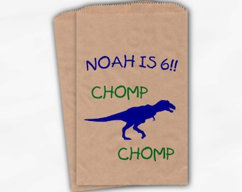 Personalized Dinosaur Birthday Party Candy Favor Bags - Custom T-Rex Kraft Paper Treat Bags for Kids - 25 Paper Bags (0002)