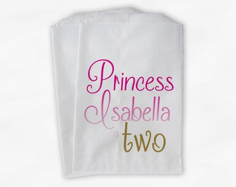 First Birthday Personalized Candy Buffet Bags - Girls Custom Script Favor Bags in Pink Ombre and Gold - 25 Paper Treat Bags (0093)
