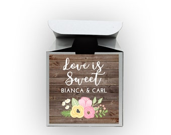 Love Is Sweet Wedding Favor Boxes - Wood and Flowers Set of 12 Personalized Treat Containers with Stickers for Favors, Gifts - White Boxes