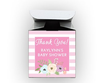 Floral Stripes Baby Shower Favor Boxes in Pink - Set of 12 Personalized Treat Containers with Stickers for Favors, Gifts - White Boxes