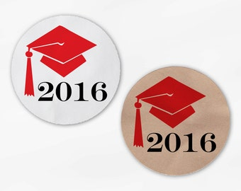 2018 Graduation Cap Favor Stickers in Red - Custom White Or Kraft Round Labels for Bag Seals, Envelopes, Mason Jars (2012)