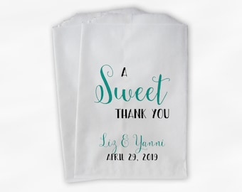 A Sweet Thank You Wedding Candy Buffet Treat Bags - Teal Personalized Favor Bags - Set of 25 Paper Bags