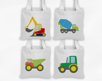 Construction Vehicles Mini Tote Party Favor Bags - Set of 4 Custom Gift Bags - Reusable Tote Bags with Dump Truck, Tractor