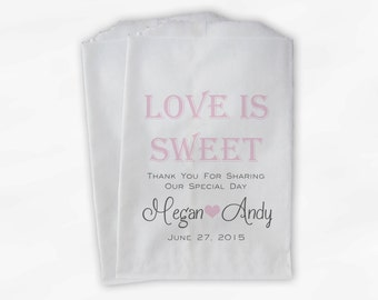 Love Is Sweet Wedding Candy Buffet Treat Bags - Personalized Favor Bags in Light Pink and Dark Grey - Custom Paper Bags (0069)