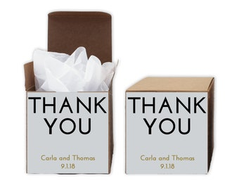Thank You Favor Boxes in Black and Gold - Set of 12 Personalized Treat Containers with Stickers for Favors, Gifts - Kraft Boxes