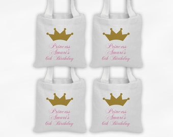 Princess Birthday Mini Tote Personalized Party Favor Bags - Set of 4 Custom Gift Bags - Reusable Tote Bags with Gold Crown
