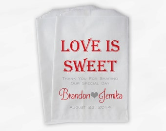 Love Is Sweet Wedding Candy Buffet Treat Bags - Personalized Favor Bags in Red and Gray - Custom Paper Bags (0069)