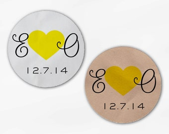 Initials and Heart Wedding Favor Stickers - Yellow Custom Candy Buffet White, Kraft Round Labels for Bag Seals, Envelopes (2021)