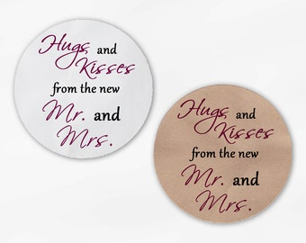 Hugs and Kisses From the New Mr. and Mrs. Wedding Favor Stickers - Wine and Black Custom Round Labels (2015)