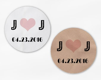 Initials and Heart Wedding Favor Stickers - Pink & Black Custom White Or Kraft Round Labels for Bag Seals, Envelopes, Mason Jars (2038)