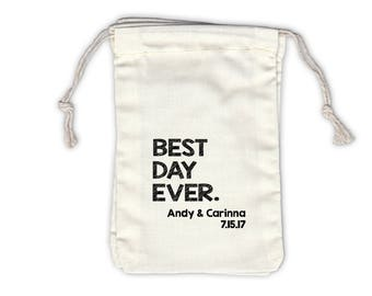 Best Day Ever Sketch Personalized Cotton Bags for Wedding Favors in Black - Ivory Fabric Drawstring Bags - Set of 12 (1046)