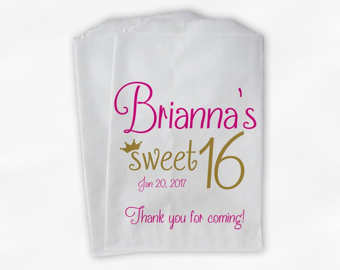 Featured listing image: Sweet 16 Birthday Personalized Candy Buffet Bags - Hot Pink and Gold Thank You Custom Favor Bags with Crown - 25 Paper Treat Bags (0081)