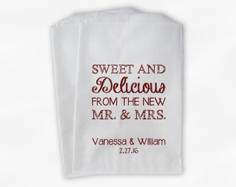 Sweet, Delicious New Mr & Mrs Candy Buffet Bags - Personalized Wedding Favor Bags - Dark Red on White Paper Treat Bags (0179)