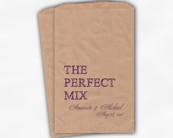 The Perfect Mix Candy Buffet Treat Bags - Purple Personalized Wedding Favor Bags with Names and Date - Custom Kraft Paper Bags (0178)