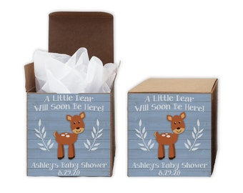 A Little Deer Baby Shower Favor Boxes in Light Blue - Set of 12 Personalized Treat Containers with Stickers for Favors, Gifts - Kraft Boxes