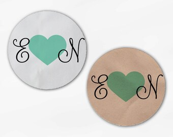 Initials and Heart Wedding Favor Stickers - Mint Green Custom Candy Buffet White, Kraft Round Labels for Bag Seals, Envelopes (2021)
