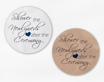Shower the Newlyweds Wedding Favor Stickers - Black and Navy Blue Custom White Or Kraft Round Labels for Bag Seals, Envelopes (2026)