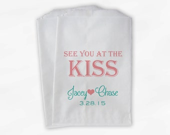 See You at the Kiss Wedding Candy Buffet Treat Bags - Pink and Aqua - Custom Paper Bags (0095)