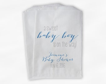 Sweet Baby Boy On The Way Baby Shower Candy Buffet Treat Bags - Set of 25 Turquoise Personalized Favor Bags (0181)
