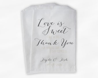 Love Is Sweet Our Day Complete Wedding Candy Buffet Treat Bags - Handwritten Favor Bags in Gray and Cream - Custom Paper Bags (0169)