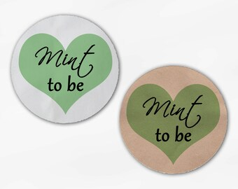 Mint to Be Heart Wedding Favor Stickers - Light Green Custom White Or Kraft Round Labels for Bag Seals, Envelopes, Mason Jars (2016)