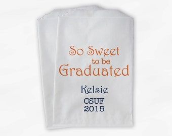 Sweet to be Graduated Candy Buffet Bags - Orange and Navy Blue Name and School for Grad Party Custom Favor Bags - Set of 25 Bags (0084)
