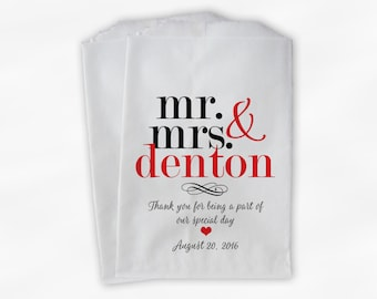 Mr & Mrs Candy Buffet Bags - Personalized Last Name Wedding Favor Bags - Black and Red Paper Treat Bags (0188)