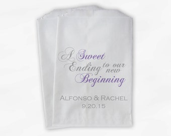 Wedding Favor Bags for Candy Buffet in Lavender & Gray - A Sweet Ending to a New Beginning Favor Bags for Wedding - Paper Treat Bags (0053)