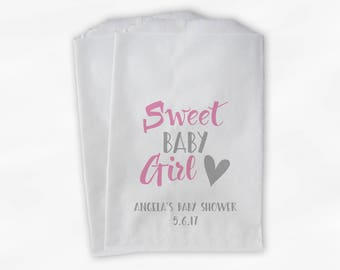 Sweet Baby Girl Baby Shower Candy Buffet Treat Bags - Set of 25 Pink and Gray Personalized Favor Bags (0199)