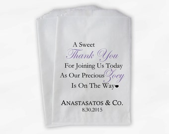 Sweet Thank You Baby Shower Candy Buffet Treat Bags - Set of 25 Lavender Personalized Favor Bags (0108)