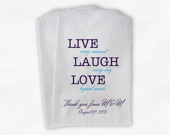 Live Laugh Love Beyond Words Custom Wedding Favor Bags for Candy Buffet in Purple and Turquoise - Personalized Paper Treat Bags (0120)
