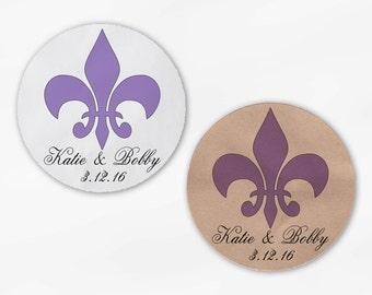Fleur de Lis Wedding Favor Stickers in Lavender - Candy Buffet White Or Kraft Round Labels for Bag Seals, Envelopes, Mason Jars (2020)