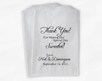 Thank You for Making Our Day Sweeter Wedding Candy Buffet Treat Bags - Black and White Personalized Favor Bags - Custom Paper Bags (0072)