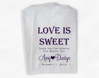 Love Is Sweet Wedding Candy Buffet Treat Bags - Personalized Favor Bags in Dark Purple Monotone - Custom Paper Bags (0069)