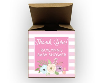 Floral Stripes Baby Shower Favor Boxes in Pink - Set of 12 Personalized Treat Containers with Stickers for Favors, Gifts - Kraft Boxes