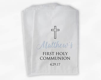 First Communion Favor Bags - Baptism or Religious Party Custom Favor Bags - Set of 25 Light Blue and Black Paper Treat Bags (0186)