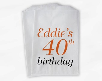 40th Birthday Personalized Candy Buffet Bags - Custom Favor Bags in Orange and Black - 25 Paper Treat Bags (0079)