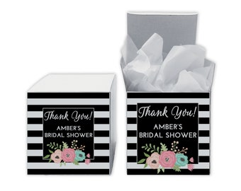 Floral Stripes Bridal Shower Favor Boxes in Black - Set of 12 Personalized Treat Containers with Stickers for Favors, Gifts - White Boxes
