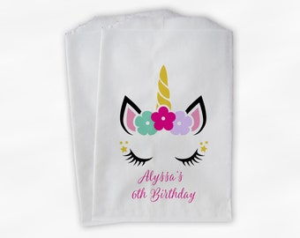 Unicorn Birthday Party Candy Buffet Treat Bags - Pink Personalized Favor Bags - Set of 25 Girls Birthday Thank You Custom Paper Bags