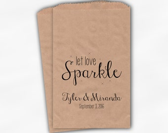Let Love Sparkle Wedding Favor Bags - Personalized Sparkler Sendoff Bags in Black - Candy Buffet Kraft Paper Bags (0184)