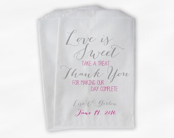 Love Is Sweet Our Day Complete Wedding Candy Buffet Treat Bags - Handwritten Favor Bags in Gray and Hot Pink - Custom Paper Bags (0169)