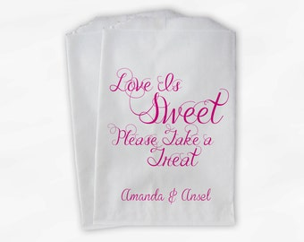 Love Is Sweet Take a Treat Personalized Wedding Candy Buffet Treat Bags - Favor Bags in Hot Pink - Custom Paper Bags (0101)