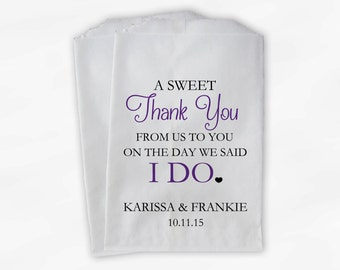 Wedding Candy Buffet Treat Bags - A Sweet Thank You Black & Purple Personalized Favor Bags with Bride and Groom's Names and Date (0085)