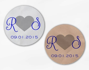 Initials and Heart Wedding Favor Stickers - Royal Blue & Silver Custom Candy Buffet White, Kraft Round Labels for Bag Seal, Envelopes (2021)