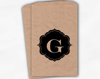 Black Monogram Candy Buffet Bags - Custom Kraft Paper Favor Bags Personalized with Initial - Brown Paper Treat Bags (0017)
