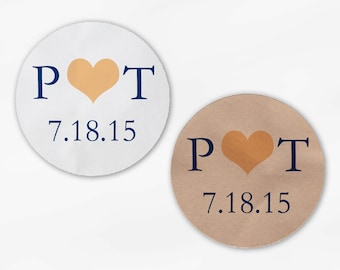 Initials & Heart Wedding Favor Stickers - Peach and Navy Custom White Or Kraft Round Labels for Bag Seals, Envelopes, Mason Jars (2004)