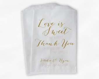 Love Is Sweet Our Day Complete Wedding Candy Buffet Treat Bags - Handwritten Favor Bags in Gold & Blush Pink - Custom Paper Bags (0169)