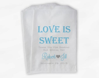 Love Is Sweet Wedding Candy Buffet Treat Bags - Personalized Favor Bags in Light Turquoise and Gray - Custom Paper Bags (0069)