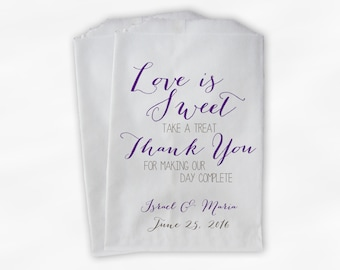 Love Is Sweet Our Day Complete Wedding Candy Buffet Treat Bags - Handwritten Favor Bags in Purple and Brown - Custom Paper Bags (0169)