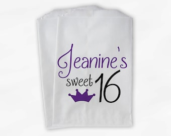 Sweet 16 Birthday Personalized Candy Buffet Bags - Purple and Black Princess Crown Custom Favor Bags - 25 Paper Treat Bags (0081)